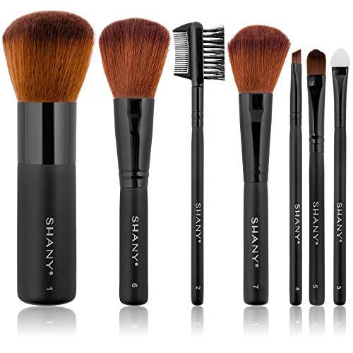 Shany Cosmetics - Set di 7 pennelli da trucco di qualità professionale, setole di visone, con astuccio