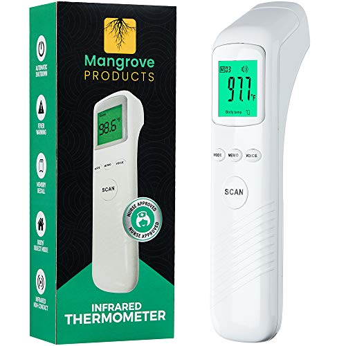 Mangrove Products: Nurse Approved Thermometer for Adults Forehead, No Touch Thermometer for Adults, Touchless Thermometer for Adults and Kids, Forehead Thermometer, Nurse Accessories No Contact