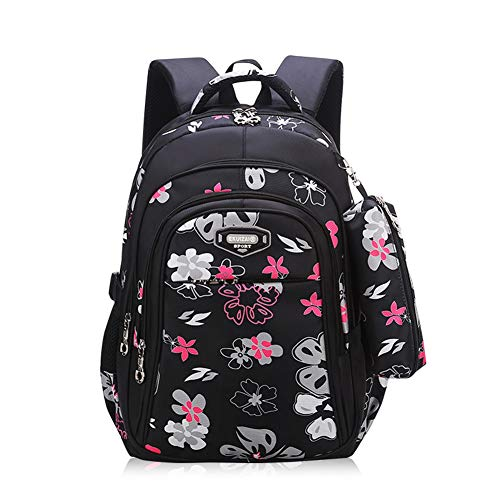 Bansusu 2Pcs Flower Prints Primary School Bag Backpack for Elementary Girls Bookbag Daypack with Pencil Case
