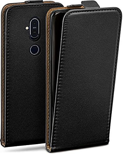 moex Flip Hülle für Nokia 8.1 Hülle klappbar, 360 Grad R&um Komplett-Schutz, Klapphülle aus Vegan Leder, Handytasche mit vertikaler Klappe, magnetisch - Schwarz