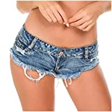 FRAUIT Pantaloncini Ragazza Estivi Jeans Shorts Ragazza Estate Pantaloncini Stretti Denim Sexy Pantaloni Donne Corti Estivi Pantalone Vita Bassa Mini Hot Pants Spiaggia Mare