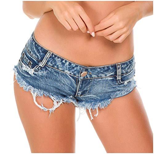 FNKDOR Sexy Jeans Shorts Damen Niedrig Rise Enger Ultra-kurz Denim Hotpants mit Fransen Blau XXL