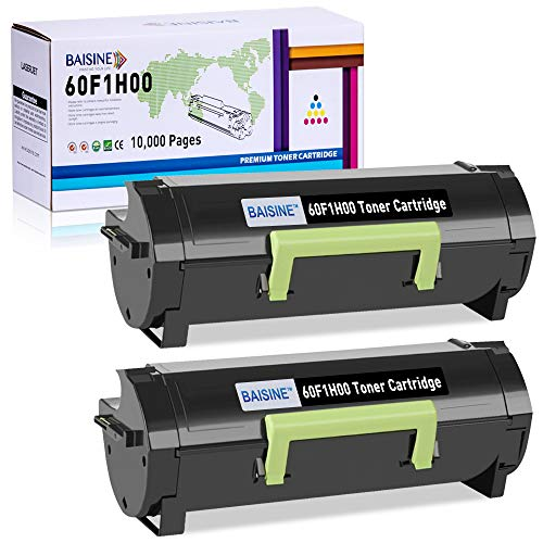 BAISINE 60F1H00 601H Compatible Toner Cartridge Replacement for Lexmark MX310dn MX611de MX511de MX410de MX611dhe MX610de MX511dhe MX510de MX511dte MX611dte MX611dfe - High Yield 10,000 Pages (2-Pack)