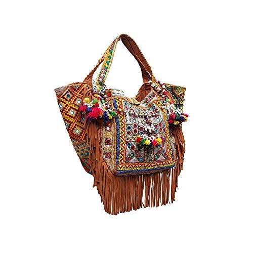 Sitara - Bolso Boho Chic Banjara Tejidos antiguos de la india Hecho a Mano Flecos de Piel