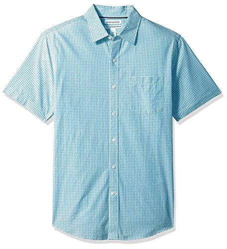 Amazon Essentials Slim-Fit Short-Sleeve Casual Poplin Shirt Camisa abotonada, Aqua Gingham, L