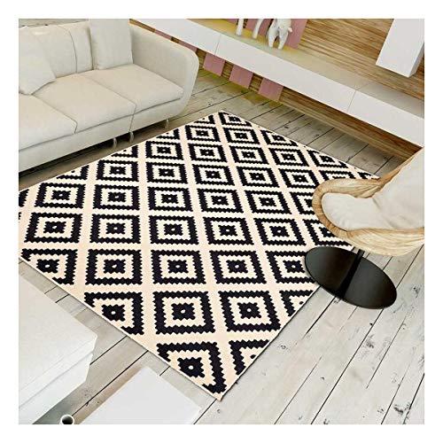 UN AMOUR DE TAPIS 160x225 Tapis Salon Moderne Design Scandinave Géométrique - Grand Tapis Salon Berbere Ethnique - Tapis Noir Creme