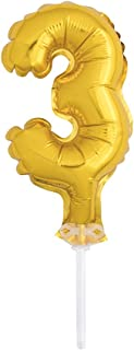"""Unique Party 57263 - 5"""" Foil Gold Number 3 Balloon Cake Topper"""
