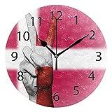 FETEAM Reloj de Pared Colgante de Madera Vintage, Reloj de Pared con Bandera de Dinamarca, Mano de Paz, Relojes con Pilas de 9,84 ″ Que no Hacen tictac