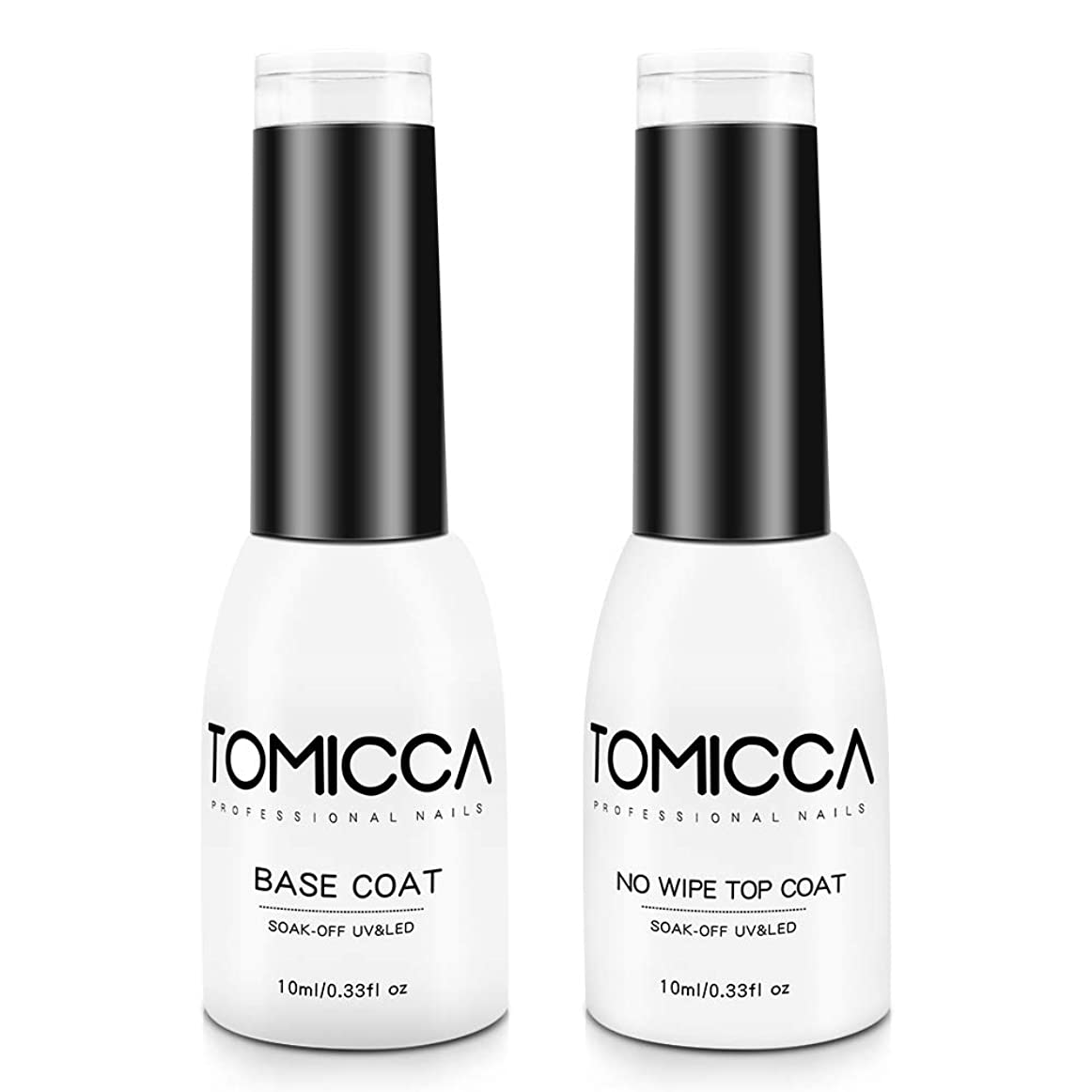 コンプライアンスサラミ酔ったTOMICCA ジェルネイル ベースコート トップコート 10ml 2本セット 拭き取り不要 UV/LED対応 大容量 (ベース&トップコート)