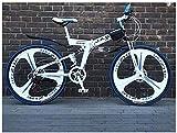 giyiohok Bicicleta de montaña 21 velocidades Unisex Suspensión Doble Bicicleta de montaña Acero de Alto Carbono 24 Pulgadas Rueda Integral de 29 Pulgadas Freno