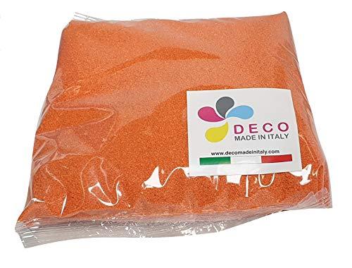 Deco – Sable naturel coloré hypoallergénique et non toxique – Couleurs vives – 0,5 mm – Vendu en sachet de 1 kg – Fabriqué en Italie Arancio