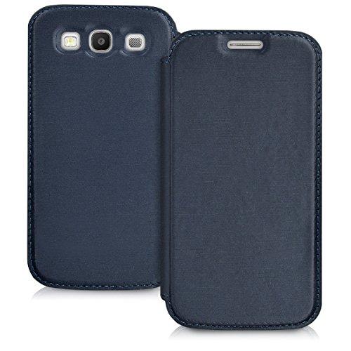 kwmobile Funda Compatible con Samsung Galaxy S3 / S3 Neo - Carcasa con Tapa Tipo Libro - Case Protector en Azul