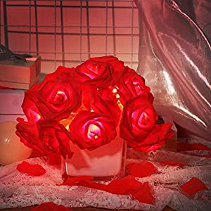 9.8 Feet 20 LED Rose Flower String Lights Battery Operated String Romantic Flower Rose Fairy String Light with 2000 Pieces Artificial Flower Silk Petals for Valentine's Day Wedding Garden Christmas