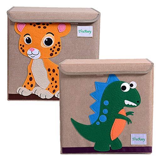 Caja de almacenamiento de juguetes con tapas, paquete de 2 cubos de almacenamiento plegables de tela para juguetes, libros, zapatos (Tiger y dinosaurio)