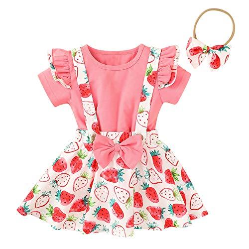 Kleinkind Kinder Baby Mädchen T Hemd Rüsche Tops + Obst Blumen Bogen Straps die Röcke einstellen A58