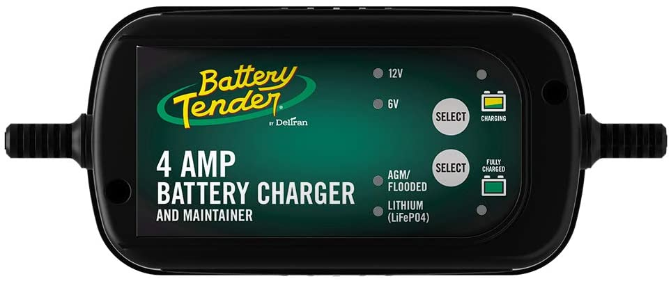 Battery Tender 4 AMP Car Battery Charger and Maintainer: Switchable 6V / 12V, Automotive Battery Charger and Maintainer for Cars, Trucks, and SUVs, Lead Acid & Lithium Battery Charger - 022-0209-BT-WH
