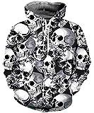 Goodstoworld Felpe con Cappuccio Teschio Bianco 3D Hoodie Pullover Manica Lunga Maglione Felpa Hoody Sweatshirt Felapa Jumper XXL
