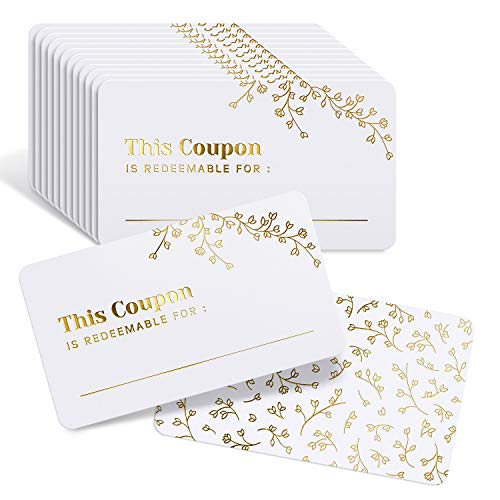 """50 Blank Coupon Cards - for Him, Her, Husband, Wife, Mom, Dad, Mother's Day Gift Certificates Vouchers Loyalty Cards Employee Appreciation Gifts - Great for Spas, Restaurants, Hair Salons (3.5""""x2"""")"""