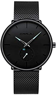 Men's Black Ultra-Thin Watch Casual Personality Watch Fashion Popular Men's Watch Student Watch