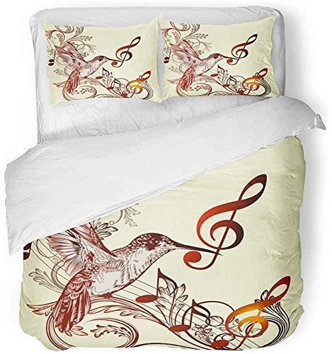 jonycm beddengoedset oud patroon met vogel en muzieknoten dier antiek artistiek mooi leuk beddengoed set met 2 kussenslopen beddengoedset 3-delige beddengoedset 177X218Cm