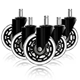 Office Chair Wheels for IKEA with 10mm Stem, HOSOM 3' Replacement Rubber Caster Wheels Set of 5 Safe for Wood Floor, Computer Gaming Chair Wheels Roll Smooth and Quite