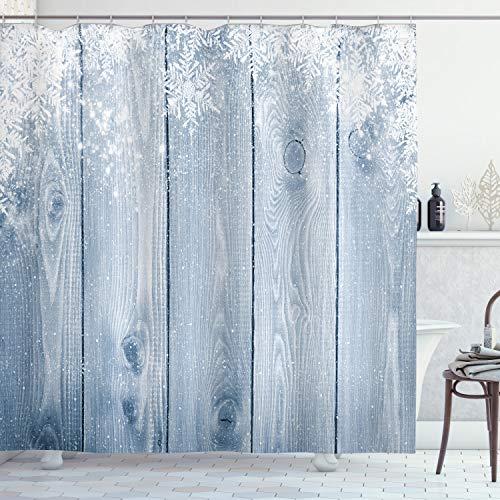 ABAKUHAUS Winter Duschvorhang, Schneeflocken rustikales Retro, mit 12 Ringe Set Wasserdicht Stielvoll Modern Farbfest & Schimmel Resistent, 175x240 cm, Weiß