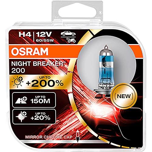 OSRAM NIGHT BREAKER 200, H4, +200% di Luce, Lampada Alogena per Fari, 64193NB200-HCB, Auto 12V, Scatola Doppia (2 Lampade)