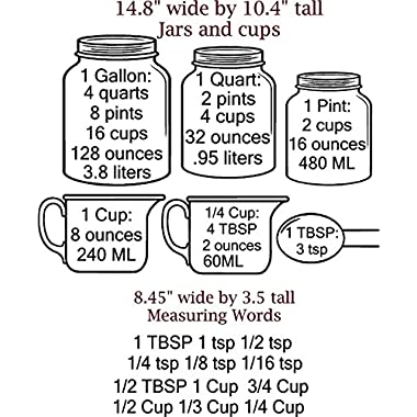 Measuring Cups DECAL with measurement converters for Baking, Walls with Style (BLACK)