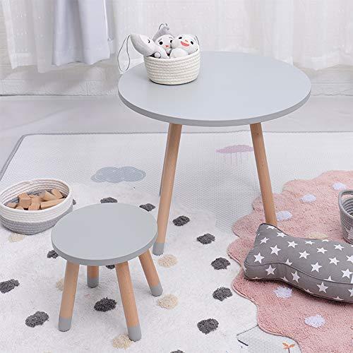 LYXCM Houten tafel voor kinderen, inclusief 1 ronde stoel en 1 Activity Table Peuter speeltafel voor 2 – 8 jaar