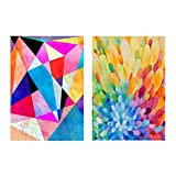 Abstract Rainbow Geometric Canvas Prints Colorful Triangle Coral Modern Paintings Poster Wall Art Decor for Nurse Home Office(2pcs Unframed,16x20 Inches)