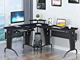 Piranha Großer Computerecktisch in grafitschwarz für das Home Office Bureau PC 21g
