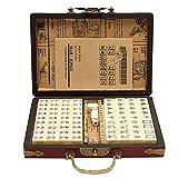 Su-xuri - 144 piezas Mahjong de viaje portátil, conjunto de mahjong chino vintage creativo con funda de piel arqueada, juegos tradicionales Mah-Jong Archaistic Leather Box manual (21,7 x 14,5 x 4 cm)