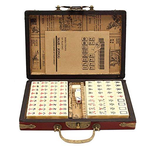 xianghaoshun Mah Jong, Chino numerado Mahjong Set Vintage Mahjong, Juego de Mahjong Antiguo Chino portátil con Juegos de la Familia Mahjong, Manual Inglés