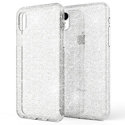 NALIA Custodia Glitter compatibile con iPhone XR, Ultra-Slim Cellulare Silicone Gomma Cover Protettiva Telefono Pelle, Morbido Sottile Protezione Gel Smart-Phone Case, Colore:Trasparente