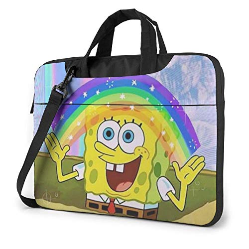 Lsjuee 13 Inch Laptop Bag Spongebob Aesthetic Laptop Briefcase Shoulder Messenger Bag Case Sleeve