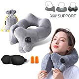 GXFCWSRY Inflatable Neck Pillow, Comfortable Soft Velvet Travel Pillow Neck Support for Airplanes Trains Buses with Portable Carrying Bag&Eye Mask