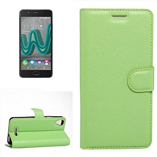 YUCPING Handyhülle Litchi Texture Horizontal Riff Ledertasche Mit Halter und Card Slots und Geldbörse for Wiko U Feel Go (Color : Green)