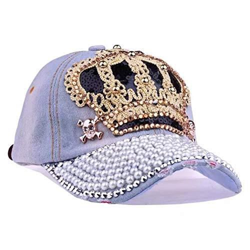 N/A Baseball cap Crown Crystal Hat Women Denim Baseball Cap Vintage Female lips jean Hats Point Drill Pearl Cowboy Snapback Caps