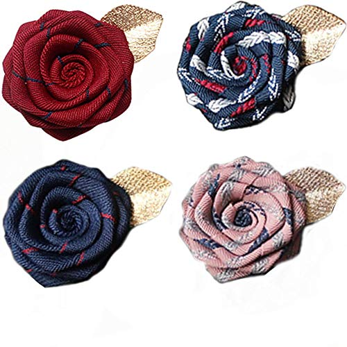 Men's Handmade Flowers brooch Lapel Pin Flower Boutonniere Set Handmade For Suits Gift 4PCS(A)