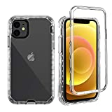 GDTOGRT Clear Full Body Protective Heavy Duty Protection Case Compatible with iPhone 12 Mini, Hard PC Back & Soft TPU Gel Shockproof Inner Case Hybrid Cover for iPhone 12 Mini 5.4'- Transparent