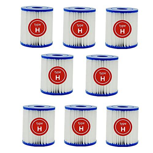 UVGS para Intex Krystal Clear Modelo 601 Cartucho de filtro de piscina tipo H bombas de filtro para Intex Spa 28601/28602 (8 unidades)
