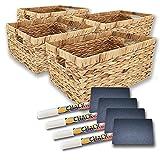 Handy Wicker Water Hyacinth Storage Baskets for Storage Pantry Organization & small wicker basket with handle, Shelf baskets for storage, Farmhouse Storage Bins and Baskets (4-PACK-MEDIUM)