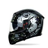 Casco Moto Integral Casco de Motocicleta Casco Fresco Personalizado Doble Lente por Dentro y por Fuera Ventilación Ajustable Forro Extraíble Certificación ECE para Adultos(56-64cm)