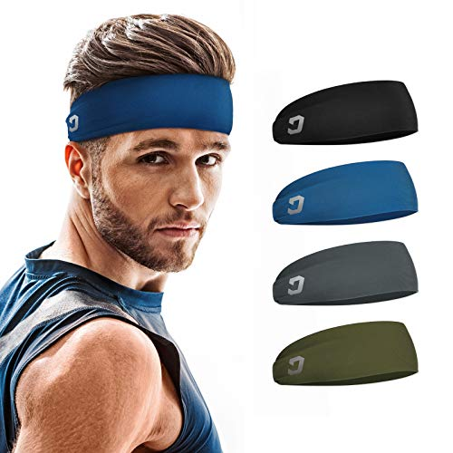 Vinsguir Sports Headbands for Men and Women (4 Pack) - Sweat Band Moisture Wicking Workout Sweatbands for Running, Cross Training, Yoga and Bike - Unisex Hairband (4 Color(Black,Blue,Gray,DarkGreen))