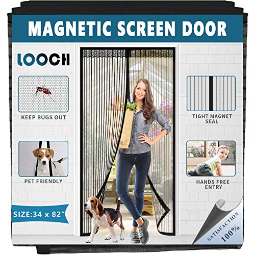 LOOCH Magnetic Screen Door Heavy Duty Mesh Curtain and Full Frame Velcro Fits Door Size up to 34-82 Max- Black