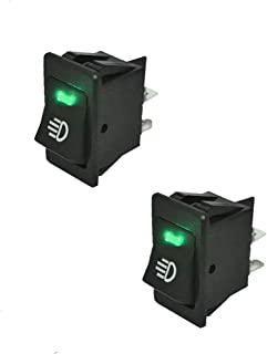 HOTSYSTEM Interruptor basculantes universal 12V 35A de 4 pines ,con luz LED para instalar vehiculo,moto,barco ,luz de color verde x 2 unidades