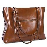 S-ZONE Damen 3-Way Schultertasche Vintage Echtleder Shopper Große Mode Laptop Arbeitstasche Umhängetasche Handtasche Messenger Bag - 4