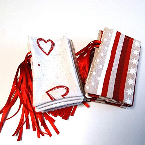 Adventskalender, Säckchenkalender, Leinenoptik, zum Befüllen