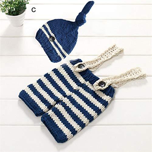Sqklv Niñas Niños Accesorios De Fotografía Crochet Overol Babero + Sombrero Ropa A Rayas
