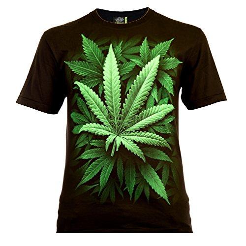 Cannabis Leaf Herren T-Shirt Schwarz Gr. M Glow in The Dark